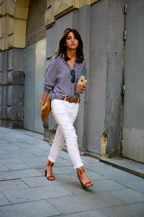 gingham / white denim / cognac accessories + shoes