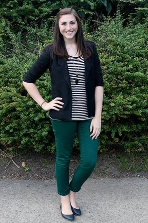 green denim / black + white stripes / black cardigan
