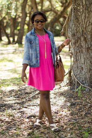 pink dress / denim jacket / gold sandals