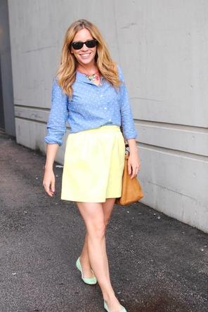 yellow skirt / blue polka dot blouse / mint flats / cognac