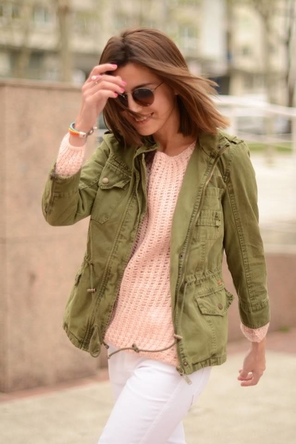 pink / white denim / utility jacket