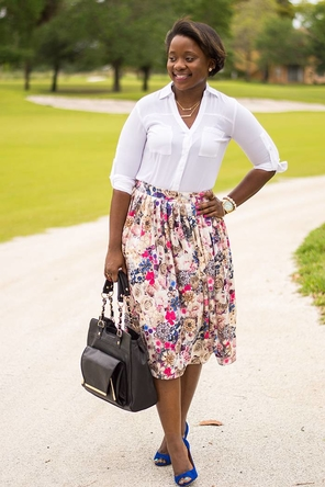 floral skirt / white button-down / cobalt heels