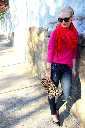 fuchsia sweater / red scarf / distressed skinnies / black heels / leopard clutch