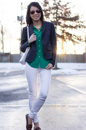 green or teal / navy / white denim