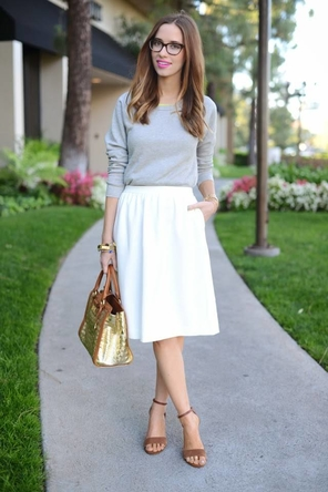 white midi skirt / grey / cognac / gold
