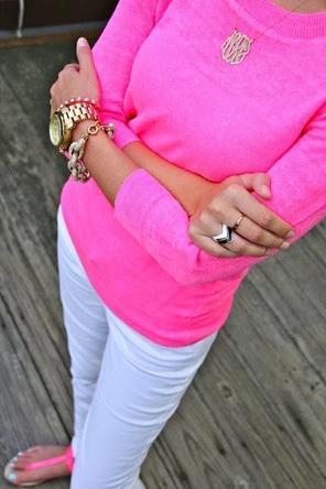 white denim + hot pink