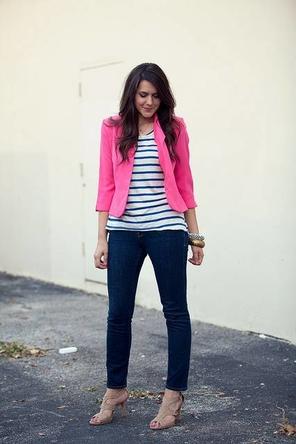 stripes / denim / bright blazer
