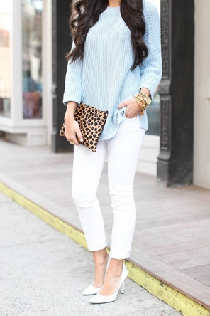 white denim + heels / mint or pastel blue / animal print