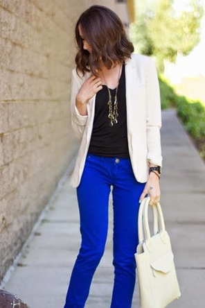 cobalt denim / black / cream or white blazer
