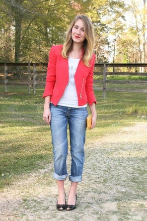 graphic T / red blazer / rolled denim