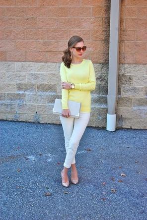white denim / yellow / beige