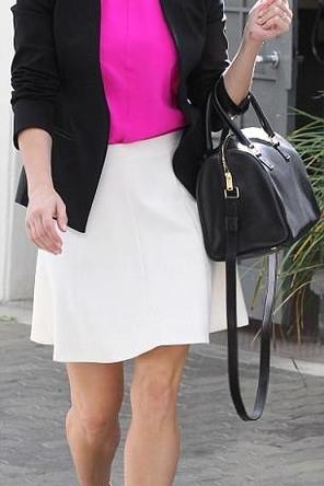white A-line skirt / bright pink top / black blazer