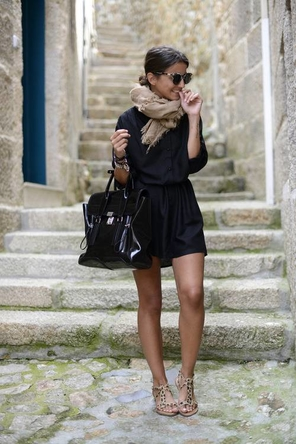 black dress / beige scarf / leopard sandals