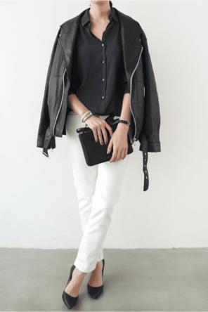 black leather + heels / navy / white denim