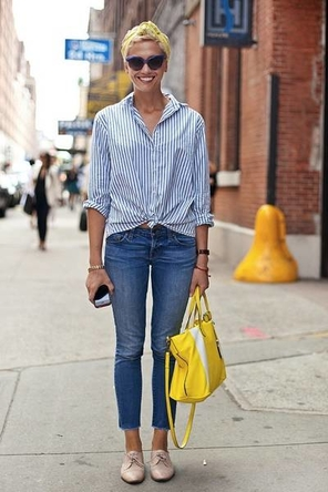 stripes / denim / Oxfords / bright bag + head scarf