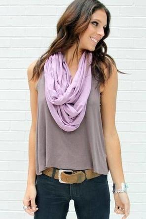 dark denim / grey tank / lavender scarf / cognac