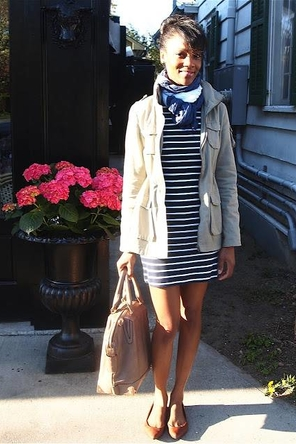 striped dress / patterned scarf / utility jacket