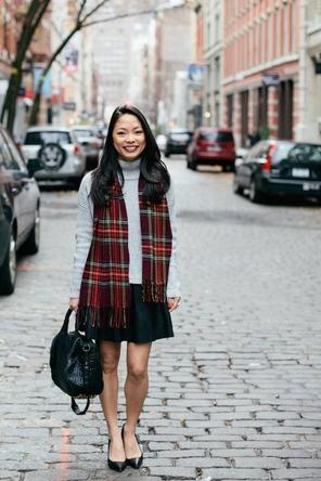 flared skirt / sweater / plaid scarf / heels