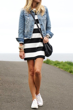 striped dress / denim jacket / Converse