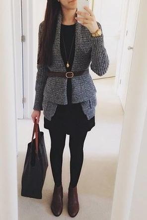 belted cardigan / black dress + tights / black + grey + brown