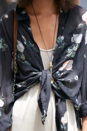 tied floral shirt