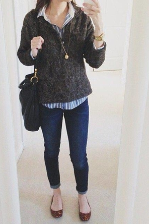 sweater layered over striped button-down / skinnies / leopard flats