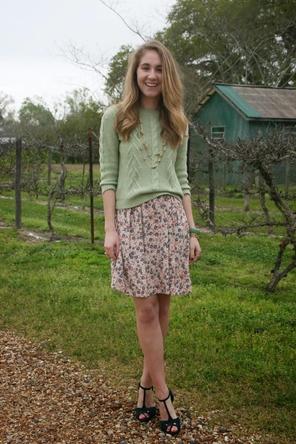mint + floral skirt