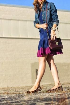 cobalt + magenta dress / denim jacket / leopard