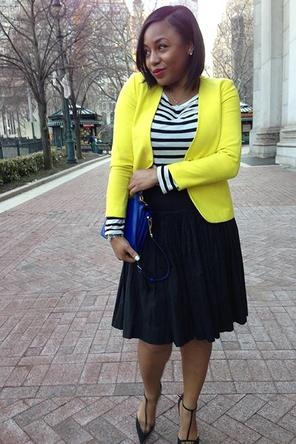 black + white stripes / pleated skirt / yellow blazer / pop of cobalt