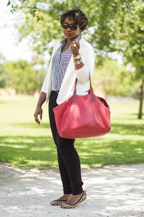 navy striped button-down / black / white / red / leopard flats