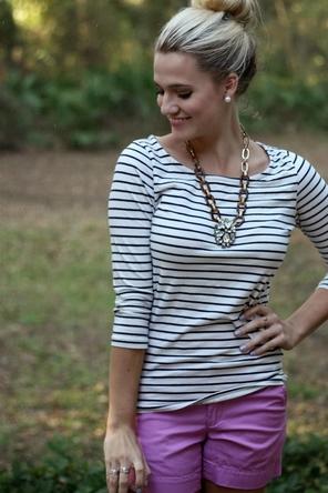 pink shorts + stripes