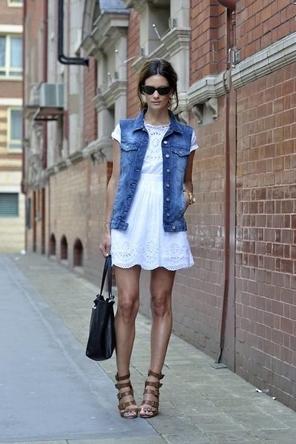 eyelet white dress / denim vest / strappy sandals