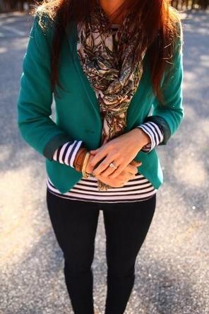 green blazer + pattern mixing
