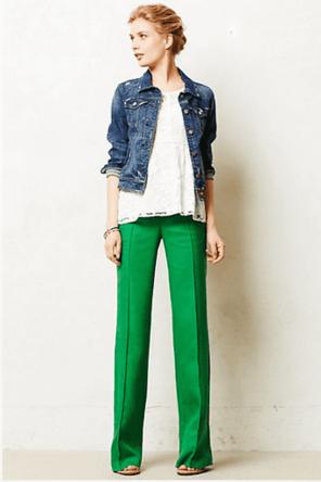 green denim or pants / lace top / denim jacket