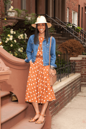 belted polka dot dress / denim jacket / summer hat / tan accessories