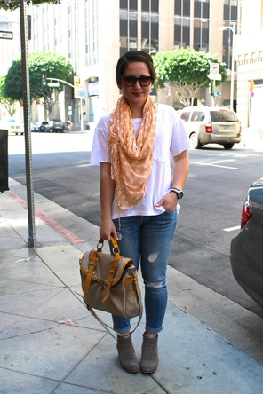 Scarf, oversized tee, skinnies, and ankle boots
