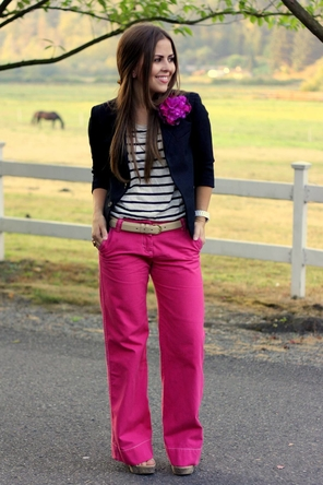 hot pink pants.